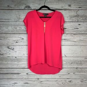 Chelsea and Theodore hot pink blouse M